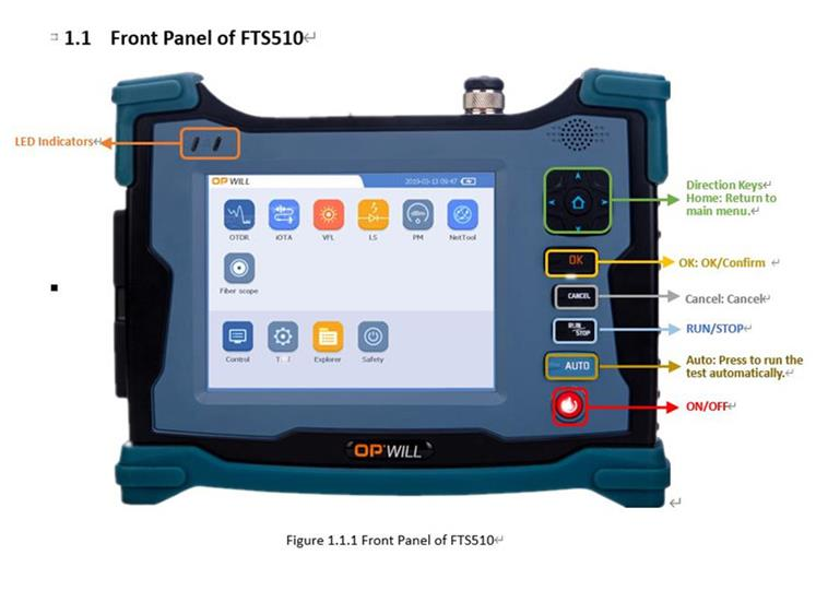 Touch Screen Fiber Optic OTDR